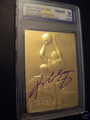 Best Cards Autographed Card - KOBE BRYANT 1996-97 FLEER WCG GEM-MT 10 23KT GOLD ROOKIE CARD! (SIGNATURE EDITION)