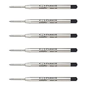 Parker Ball Point Pen Refills, Medium Point, Black Ink, Pack of 6
