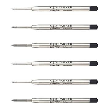 3 X Parker Ball Point Pen Refill Biro Quink Ink - BLACK MEDIUM NIB