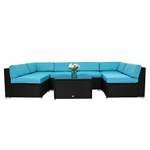 Peach Tree 7Pcs Outdoor Patio PE Rattan Wicker Sofa Sectional Furniture Cushioned Deck Couch Set Inclined Backrest (Blue)