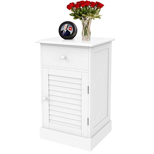 Yaheetech Nightstand End Table with One Drawer and Slatted Door