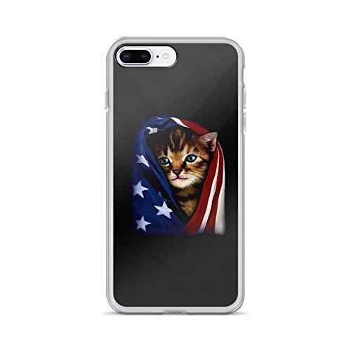 iPhone 7 Plus/8 Plus Pure Clear Case Cases Cover Patriotic Kitten Cute Cat American Flag