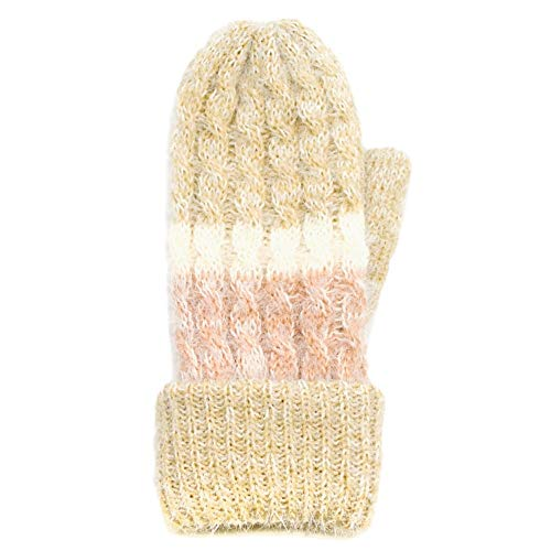 (Me Plus Women's Wool Blend Cable Knitted Mitten Plush Lining Gloves One Size M/L (STRIPED-BEIGE))