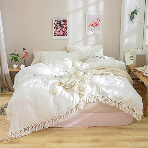 Softta Duvet Cover Full 3 Pcs Bohemian Duvet Covers Tassel and Ruffle White Girls Bedding 100% Washed Cotton