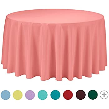 VEEYOO Tablecloth 108 Inch Round Solid Polyester For Restaurant Party  Bistros Buffet Table Baby Shower Kitchen Accessories, Coral