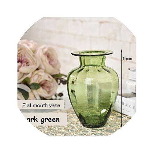 dream-higher Creative vase Tabletop Color Glass Vase Handmade Floral hydroponic Desktop Flower Container Living Room Office Decoration,B4 15cm