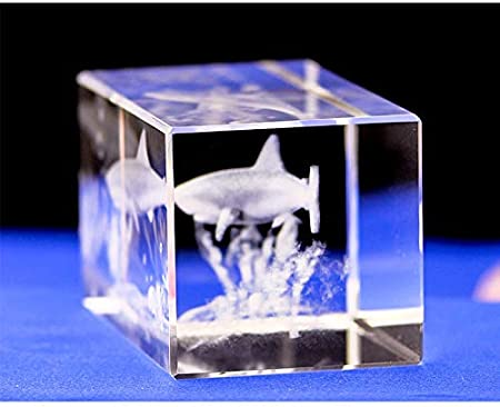 MKYXLN Great White Sharks Crystal Laser 3D Statue Sculpture Figurines Miniatures Arts Crafts