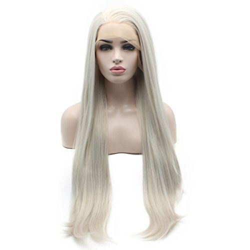 Iewig Extra Long Straight Synthetic Lace Front Half Hand Tied Gray Wig