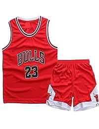AnAn Lucky Little Boys Basketball Jersey 2-Piece Basketball Tank Top Shorts Set