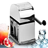 YYQX Ice Crusher, Manual Hand-Operated Crank Home Without Electricity Ice Chipper with Stainless Steel Blades for Fast Crushing,Square