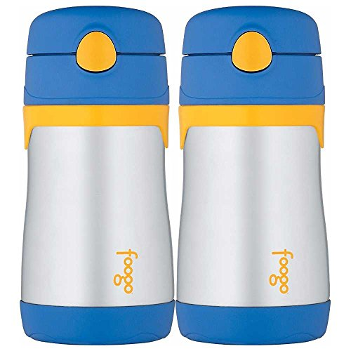Thermos Foogo Phases Leak Proof Stainless Steel Straw Bottle, 10 Ounce - 2 Pack (Blue/Yellow) ()
