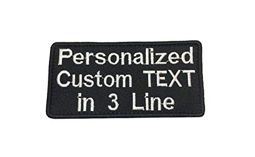 3 Line Lettering Custom Personalized Label Tactical Name Badge w/Hook Fastener Backing Iron On Patch (Hook) ()
