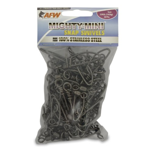 American Fishing Wire Mighty Mini Snap Swivels (100-Percent Stainless Steel), Black Color, Size 1, 320 Pound Test, 50-Pieces