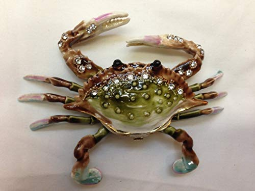 (Gorgeous Crab Enameled Jeweled Box with Inlaid Crystal Trinket Box, Pill Box)