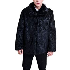 Froomer Men Long Sleeve Faux Fur Jacket Luxury Outwear Coat