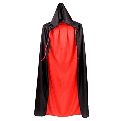 170cm Unisex Cool Black And Red Dual Sided Halloween Masquerade Christmas Witch Wizard Cloak Cape Costume with Hood Halloween Role Play Dress-up Supplies