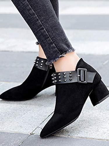 YSFU Stiefel Damen Damen Damen Stiefeletten Casual Nieten Chunky Heels Langlebige Schuhe Damen Stiefelies Herbst Winter Outdoor Heeled Niedrigen Ferse 9b8889