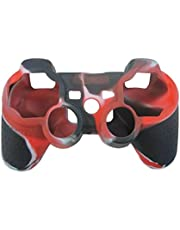 OSTENT Camouflage Silikon Hülle für Sony PS2 / 3 Wireless / Wired Controller - Farbe Rot