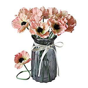 En Ge 10 Stems Mini Artificial Poppies Real Touch Fake Latex Flowers for Bridal Wedding Bouquet Home Kitchen Desktop Party Decor (Pink) 73