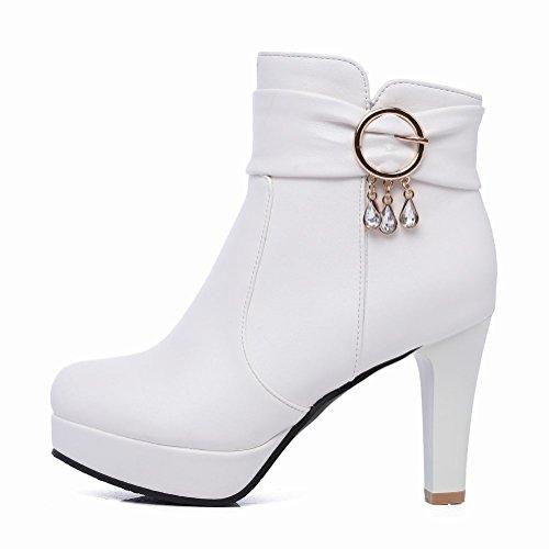 Mee Shoes Damen high heels Plateau Kurzstiefel Weiß