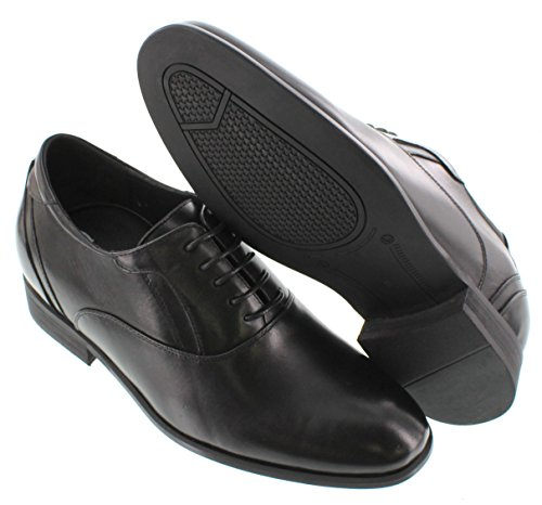 calto–g1528–7,6cm Grande Taille–Hauteur Augmenter Chaussures ascenseur (en cuir noir à lacets)