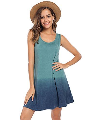 Sherosa Women's Sleeveless Summer Swing Tank Top Sundress Casual T-shirt Dress (XXL, Green)