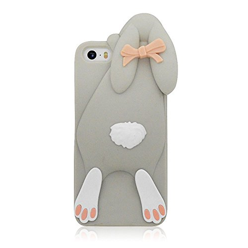 (iPhone 6 6S Case, Anya 3D Fashion Cute Flower Bow Ears Classic Cartoon Animal Soft Rubber Robot Silicone Back Shell Case Cover Skin Apple iPhone 6 6S 4.7 inch Rabbit Grey)