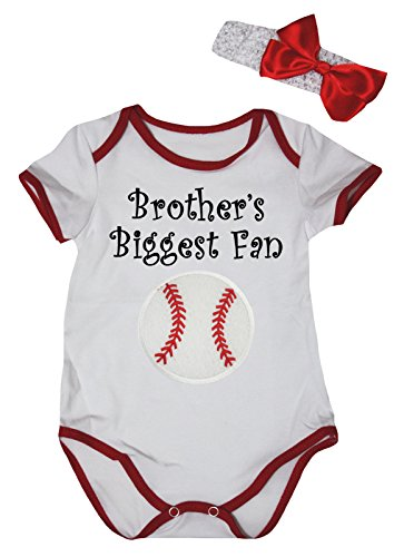 Petitebella Brother's Biggest Fan Baseball White Red Baby Bodysuit Nb-18m (3-6 Months)