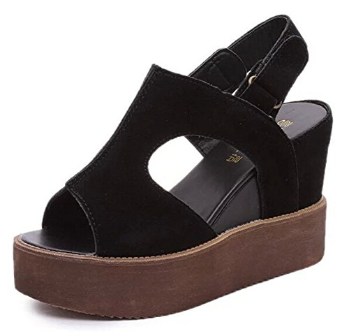 Bumud Women's Peep Toe Comfort Platform Wedge Sandal (7 B(M)US, - Sandal Mini Slingback Platform