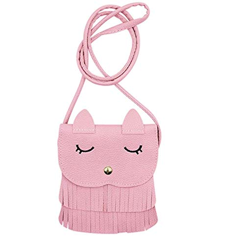 ZGMYC Cat Tassel Shoulder Bag Small Coin Purse Crossbody Satchel for Kids Girls, Pink (5.1'' x 5.9'')