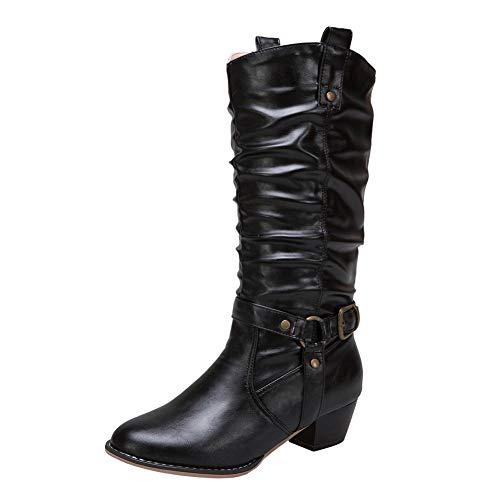 Neige Bloc Heel Bottes Noir Classique Buckle Longues Automne Combat Slouch Confortable De À Bigtree Hiver Enfiler Cuissardes Femmes Western WFT1q1