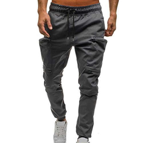 Easytoy Mens Chino Jogger Pants-Casual Straight Tapered Trousers with Elastic Waist Drawstring Zipper Pockets Sport Sweat Pants (Gray, L) by Easytoy