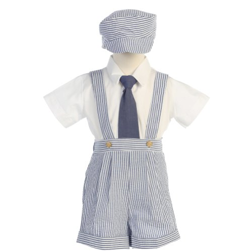 Lito Boys 24M Blue Stripe Seersucker Suspender Shorts Outfit