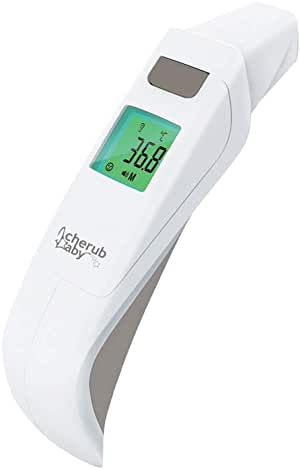 Cherub Baby 5 in 1 Touchless Forehead, Ear & Bath Thermometer, Grey, White, 0 Count