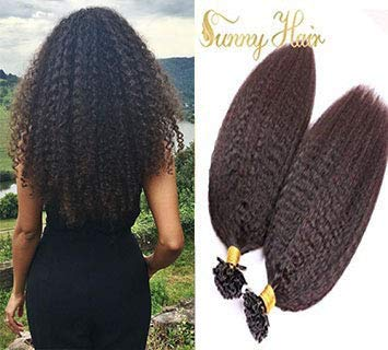 VeSunny 22inch Brazilian U Tip Fusion Hair Extensions Virgin Human Hair Natural Color Afro Kinkys Straight Hot Fusion Human Hair Extensions 1G/Strand - Tips Set Natural