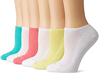Hue Women's Mesh Top 1/2 Cushion No Show Sock 6-Pack, Zest Pack, One Size