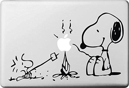 Vati Leaves Removable Lovely Snoopy And Woodstock Grams Decal Sticker Skin Art Black for Apple Macbook Pro Air Mac 13