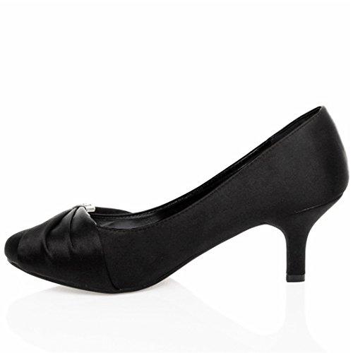 Close Donna Scarpe Sera da on Mid Sposa Classiche Raso d' Festa MyShoeStore o Fibbia Gattino Slip da Eleganti Low Pompa Diamante Onore Toe Tallone Tacchi Damigella Black Stiletto S5qf1wx