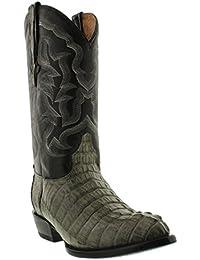 Men's Gray Genuine Crocodile Tail Skin Cowboy Boots J Toe