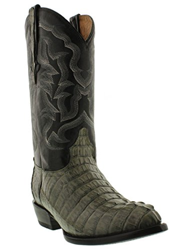 El Presidente - Men's Gray Genuine Crocodile Tail Skin Cowboy Boots J Toe 14 2E US