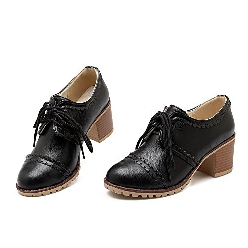 Odomolor AmagooTer Women's Lace-up Round-Toe Kitten-Heels PU Solid Pumps-Shoes Black TYoPv