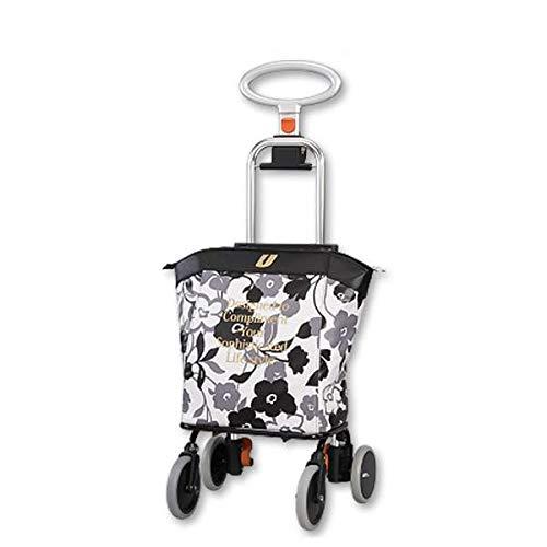 保温保冷バッグ付きのオシャレなワイヤーカート ショッピングカート アップライン UL-0218(花柄ブラック) 〈簡易梱包   B07RQ43XWR