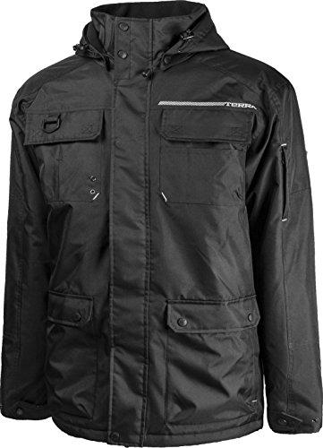 Terra 100306BKM Bolt Black Lined Supreme Winter Hooded Jacket, Black, Medium