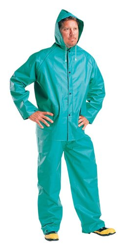 Liberty DuraWear PVC/Polyester 2-Ply 3-Piece Protective Rainsuit, 0.35mm Thick, X-Large, Lime Green (Case of 10)