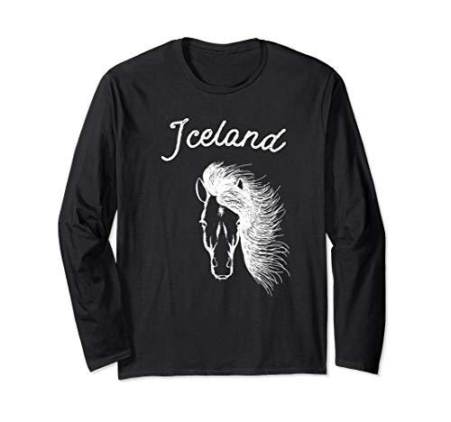 Iceland Long Sleeve Shirt with Icelandic Horse - Sweaters Icelandic Wool