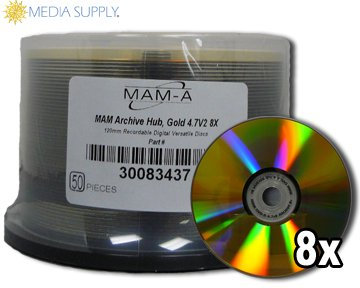 MAM-A Mitsui Gold Archive 8x DVD-R with no logo in bulk - 50 Count