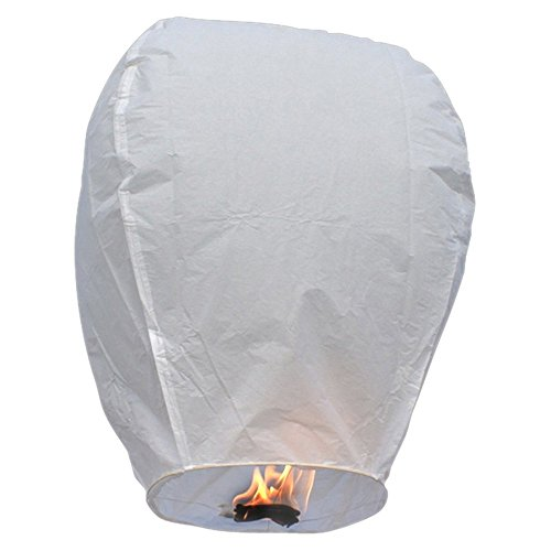 21 Pack Fire Sky Lanterns Kongming Wish Lanterns Chinese Paper Sky Flying Wishing Lantern Lamp Candle Party Wedding Wish (White) by Avriaid
