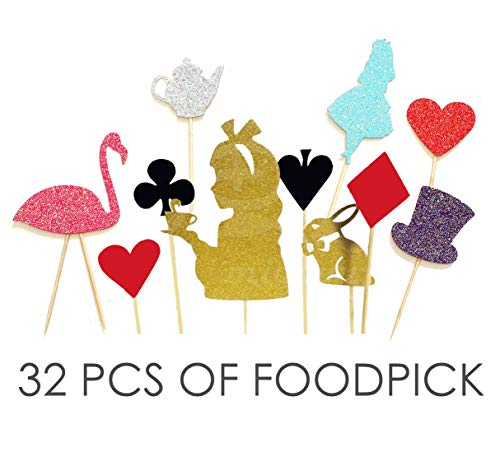 Value Pack- 32 Cupcake Toppers Picks- Various Themes (Alice in Wonderland)]()