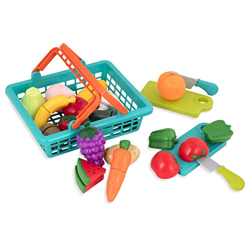 41ZF4Rfz5eL - Battat - Farmers Market Basket - Toy Kitchen Accessories - Pretend Cutting Play Food Set for Toddlers 3 Years + (37-Pcs)