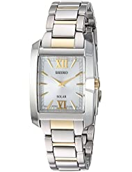 Seiko Womens SOLAR Quartz Stainless Steel Casual Watch, Color:Two Tone (Model: SUP379)